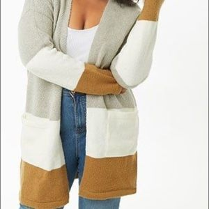 Forever21 colour block open lay cardigan